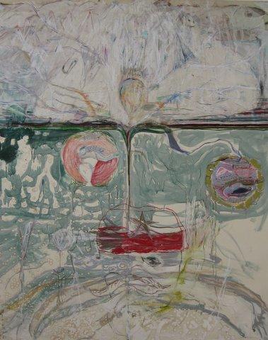 """LOSAR"" 190 x 160 -Öl,Kreide,Pencil,Papier auf Leinwand"